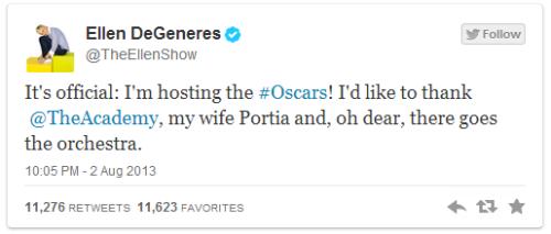 ข้อความจาก Twitter ของ Ellen Degeneres