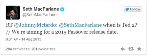 ข้อความจากทวิตเตอร์ของ Seth MacFarlane
