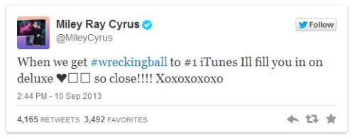 ข้อความจากทวิตเตอร์ของ Miley Cyrus