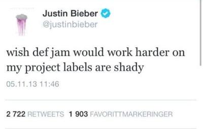 ข้อความจากทวิตเตอร์ของ Justin Bieber